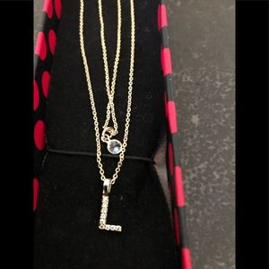 Jewelry - 2 Gold colored chains  both with diamond chips L